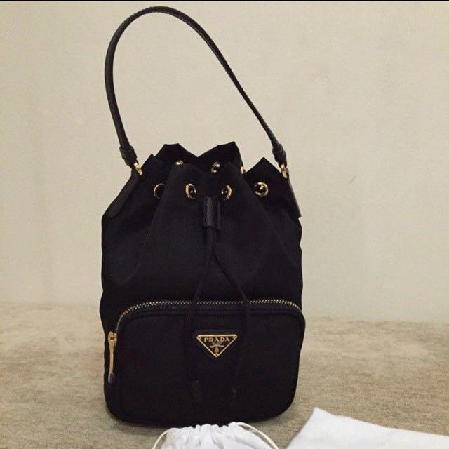 d9ef1fdf671b ... canada prada tessuto with saffiano small bucket bag luxury bags wallets  on carousell fdb2e f6355