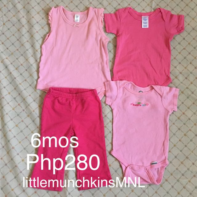 Preloved 1 Lot 6 Months Baby Girl Clothes Shades Of Pink Set2