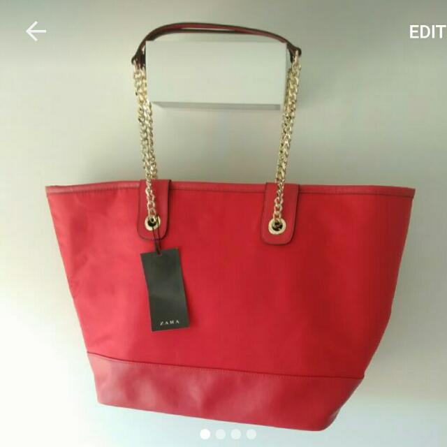 Red Tote Zara With Tags