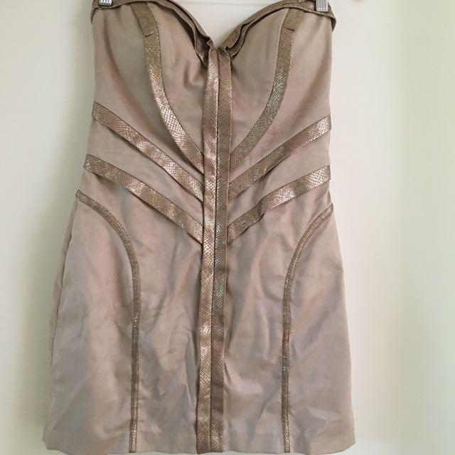 Seduce Golden Strapless Formal Strapless Dress