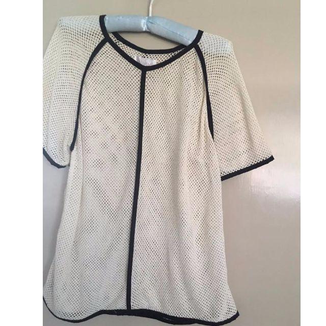 Shakuhachi mesh crochet white top