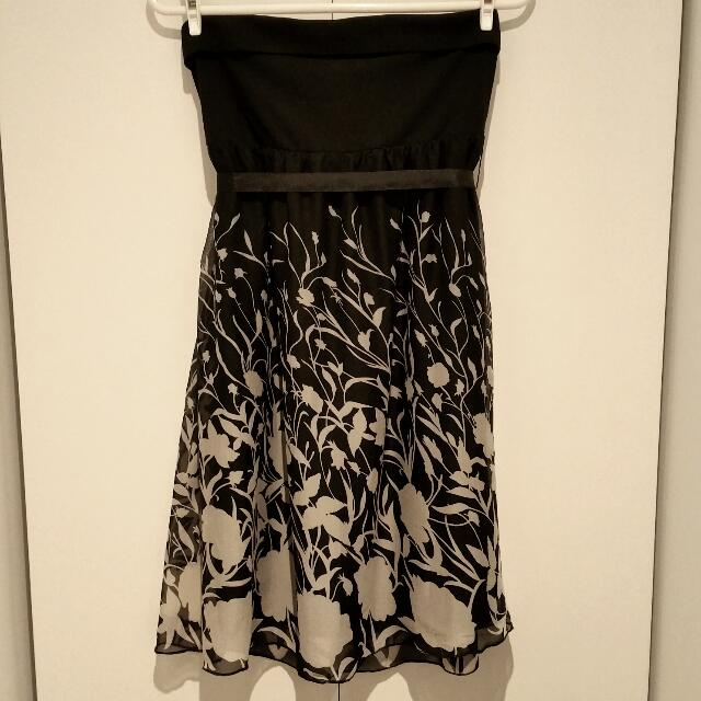 *New* Strapless Black Print Dress