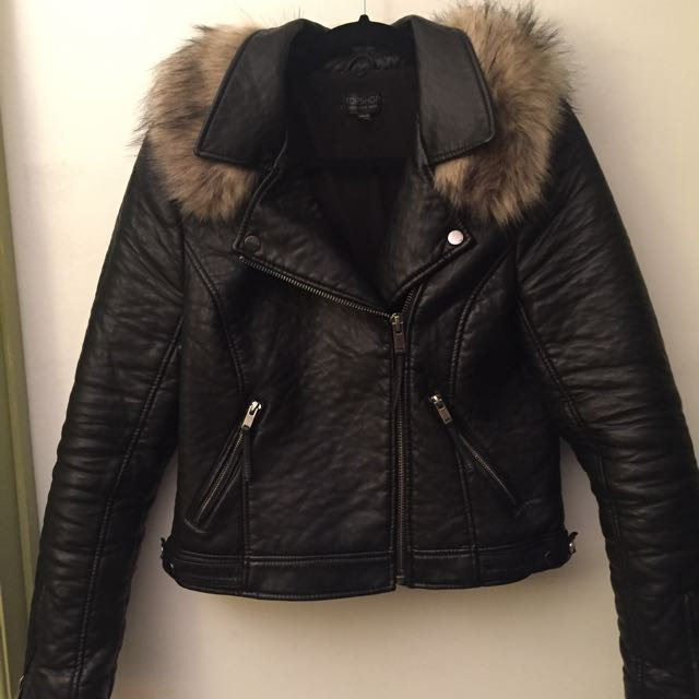 Topshop Faux Leather Jacket With Removable Fur