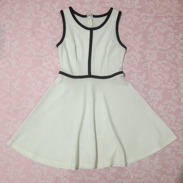 White Dress with Black Lining Details