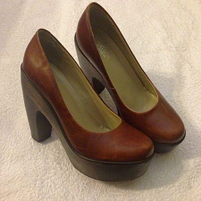 Wittner Wooden Platform Heels - Size 41