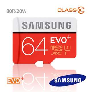Samsung EVO PLUS 64GB Micro SD Memory Card 80R/20W MB-MC64D