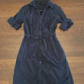 H&M Navy Belted Shirt Dress Size 12