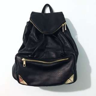 Faux Leather Backpack with Gold Hardware