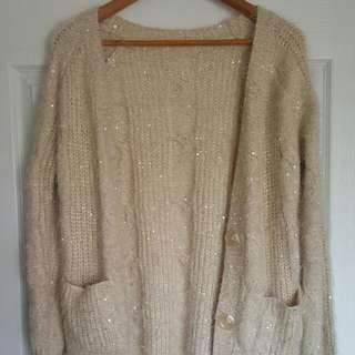 ZARA Oversize Knitted Beige Cardigan Sequin Sweater Size M