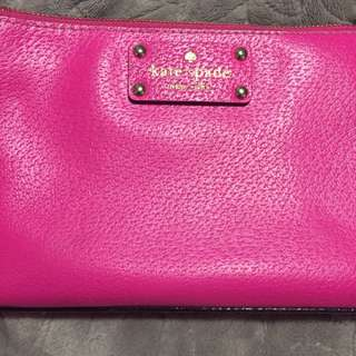 Kate Spade Leather Clutch In Hot Pink