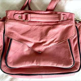 Pink Leather Top Shop Handbag
