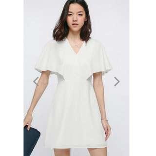 LB Love Bonito Fran Flutter Sleeve Dress In White