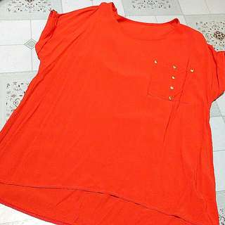 Preloved Orange Sheer Top
