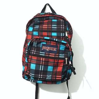 Large Jansport Backpack (Blue + Red Plaid)