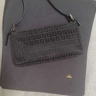FENDI Logo Embossed Black Handbag