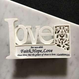 Love Faith & Hope Sign