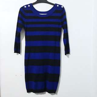 Black And Blue Striped Sweater Dress