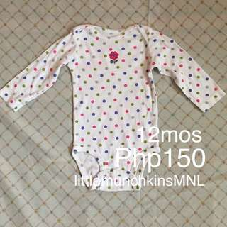 Preloved Carter's Onesie Long Sleeves 12 Months Baby Girl Clothes Flower On Dots