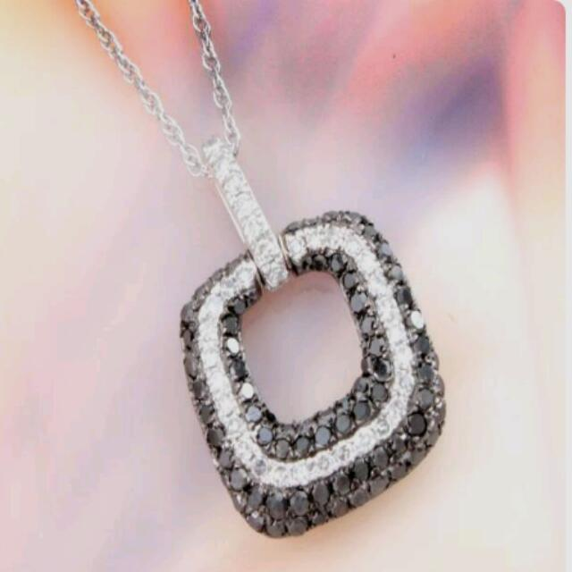 10k White Gold Pendant. Black & White DIAMONDS!