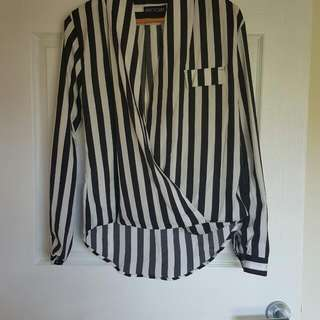 Boutique Striped Cross Over Front Shirt Blouse BNWOT size M