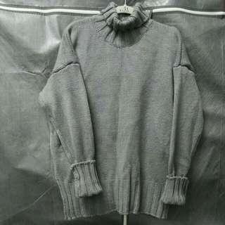 灰色 高領 開岔 毛衣
