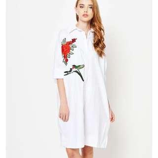 Love&Bravery Sparrow Rose Shirt Dress White