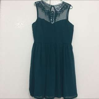 F21 Dark Green Lace Dress