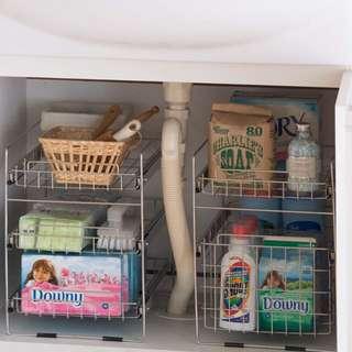 日本製 一減再減 不銹鋼兩層拉熨式浴室廚房收納儲物架 家居 Made In Japan