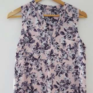 Pink And Grey Floral Top