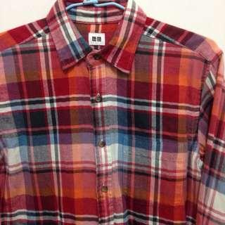 Uniqlo 限定款 橘紅格紋襯衫