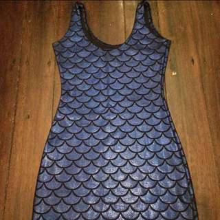 Black Mill Style Sparkly Blue Mermaid Dress, Size XS