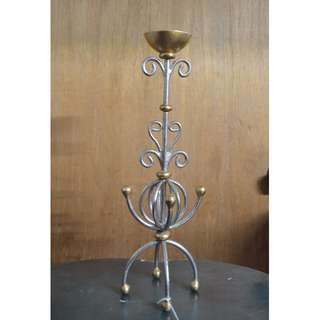 Vintage Iron Silver/Gold Painted Candle Holder