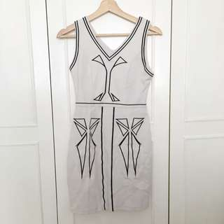 White Women's Tight Fitting Dress - Black Embroidery
