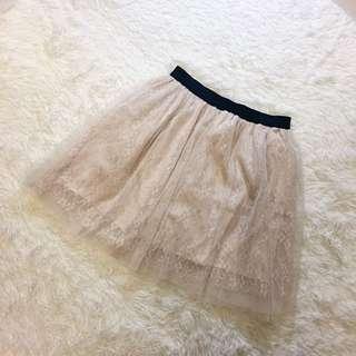 杏色蕾絲花朵短紗裙