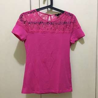 H&M Hot Pink lace top