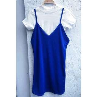 Blue Slip Dress With White Inner Top