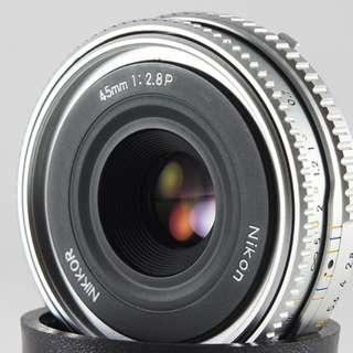 **日光銀鹽** 日鏡 Nikon Nikkor 45mm F2.8 P (Ai-P) 最短45公分 餅乾鏡 人像鏡
