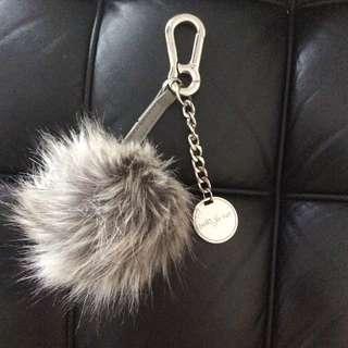 Betts Grey Fur Ball Keychain Bag Charm