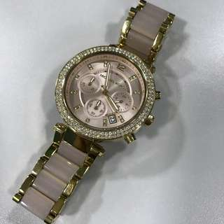 Michael Kors Parker Pink Acetate and Gold Chrono