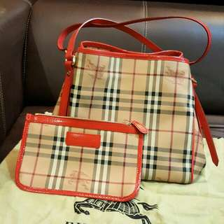 Burberry Small Haymarket Check Canterbury Tote Bag Red