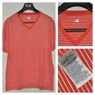 Kaos GAP Vneck Orange Stripes