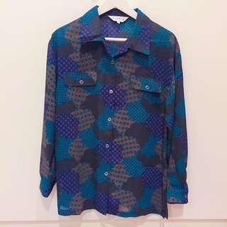 藍綠紫幾何小圈古著襯衫