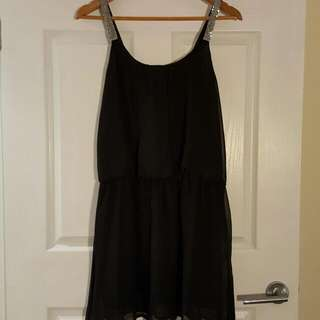 Black Cocktail Dress With Silver Shoulder Detailing Size 10