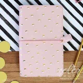 Webster's Pages Travelers Notebook - Blush & Gold Foil Dots