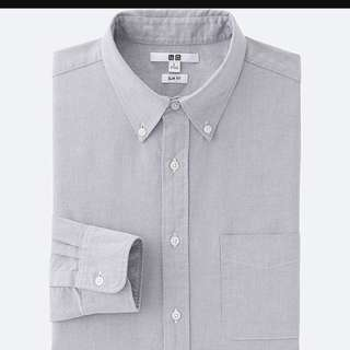 [INSTOCK] Uniqlo Grey Slim Fit Oxford Shirt