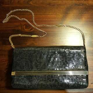 VINTAGE Gorgeous Black And Gold Purse Clutch Bag