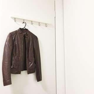 Black Rivet Brown Faux Leather Jacket