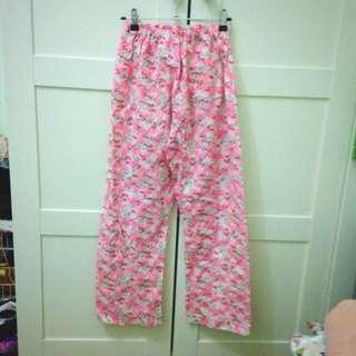 Pink Floral Cotton Pajama Pants