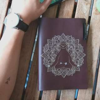 Embroidered Leather Journal Sleeve (Refillable)