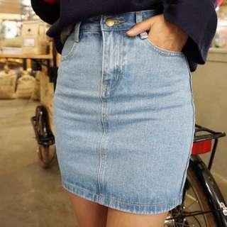 正韓 牛仔裙 裙子 窄裙